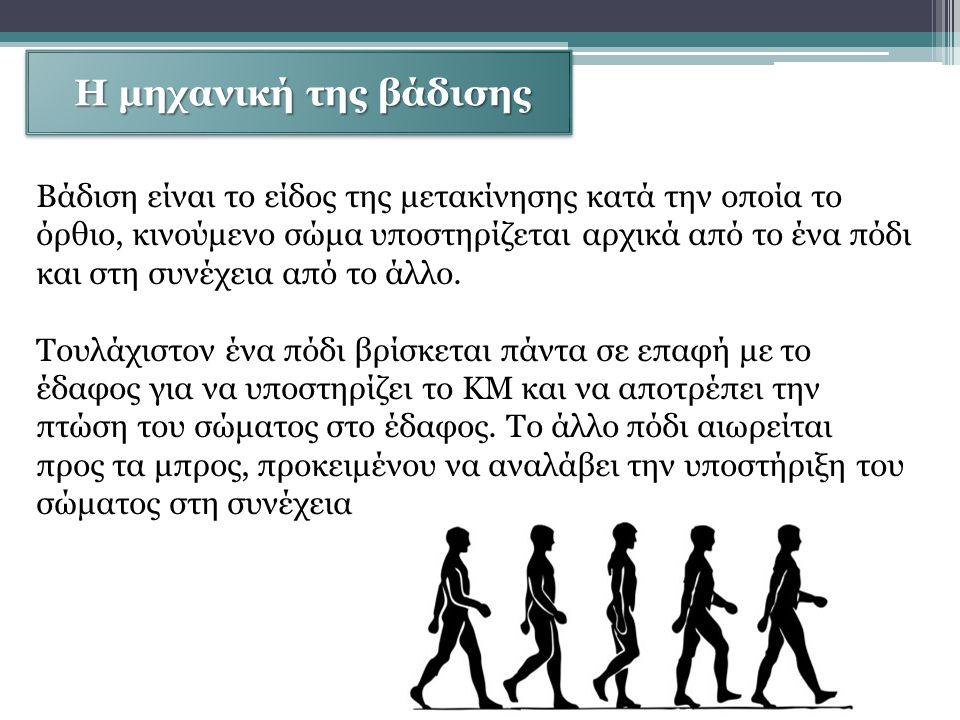 Η μηχανική της βάδισης Η μηχανική της βάδισης Βάδιση είναι το είδος της μετακίνησης κατά την οποία το όρθιο, κινούμενο σώμα υποστηρίζεται αρχικά από το ένα πόδι και στη συνέχεια από το άλλο.