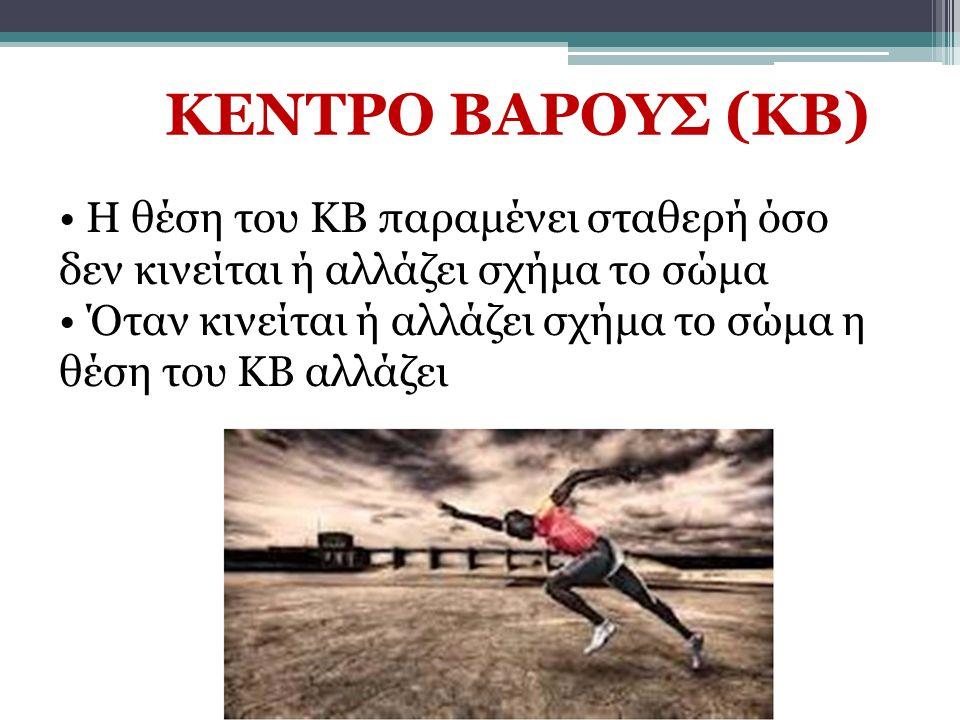 Η θέση του ΚΒ παραμένει σταθερή όσο δεν κινείται ή αλλάζει σχήμα το σώμα Όταν κινείται ή αλλάζει σχήμα το σώμα η θέση του ΚΒ αλλάζει ΚΕΝΤΡΟ ΒΑΡΟΥΣ (ΚΒ)