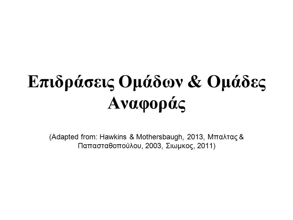 Επιδράσεις Ομάδων & Ομάδες Αναφοράς (Adapted from: Hawkins & Mothersbaugh, 2013, Μπαλτας & Παπασταθοπούλου, 2003, Σιωμκος, 2011)