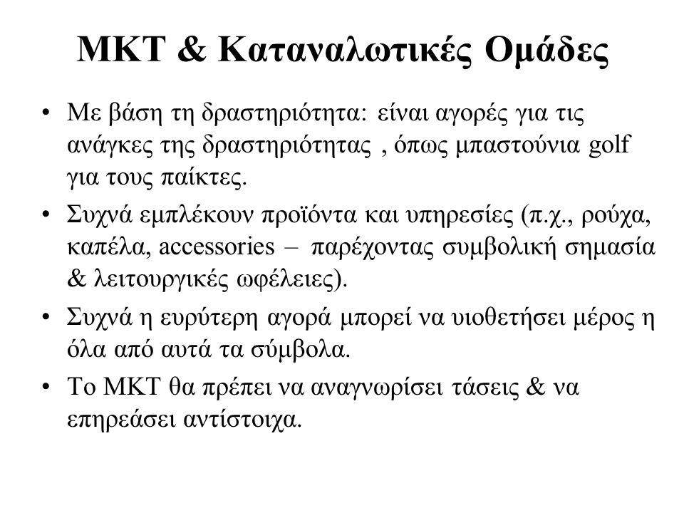 MKT & Καταναλωτικές Ομάδες Με βάση τη δραστηριότητα: είναι αγορές για τις ανάγκες της δραστηριότητας, όπως μπαστούνια golf για τους παίκτες.