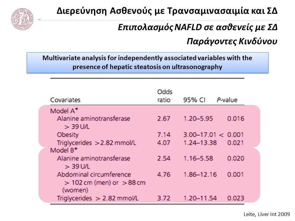 Διερεύνηση Ασθενούς με Τρανσαμινασαιμία και ΣΔ Leite, Liver Int 2009 Επιπολασμός NAFLD σε ασθενείς με ΣΔ Παράγοντες Κινδύνου Multivariate analysis for independently associated variables with the presence of hepatic steatosis on ultrasonography