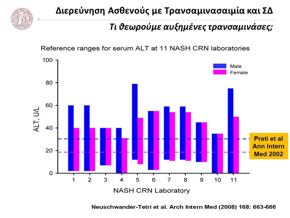 Διερεύνηση Ασθενούς με Τρανσαμινασαιμία και ΣΔ Τι θεωρούμε αυξημένες τρανσαμινάσες; Prati et al Ann Intern Med 2002