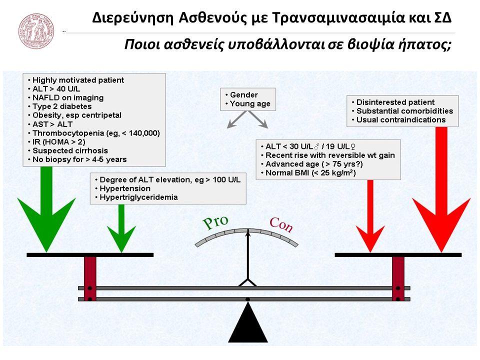 Διερεύνηση Ασθενούς με Τρανσαμινασαιμία και ΣΔ NAFLD/NASH Εκτίμηση ίνωσης με μη επεμβατικά μέσα AASLD Practice Guidelines 2012 Η παρουσία μεταβολικού συνδρόμου αποτελεί ισχυρό προγνωστικό δείκτη για την παρουσία στεατοηπατίτιδας NAFLD Fibrosis Score ηλικία, BMI, υπεργλυκαιμία, PLT, ALB, AST/ALT Enhanced Liver Fibrosis (ELF) panel υαλουρονικό οξύ, TIMP-1, PIIINP Ελαστογραφία ήπατος...