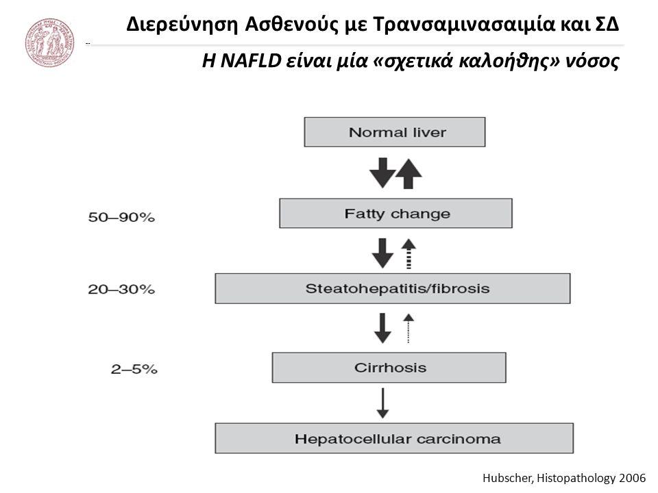 Διερεύνηση Ασθενούς με Τρανσαμινασαιμία και ΣΔ Η NAFLD είναι μία «σχετικά καλοήθης» νόσος Hubscher, Histopathology 2006