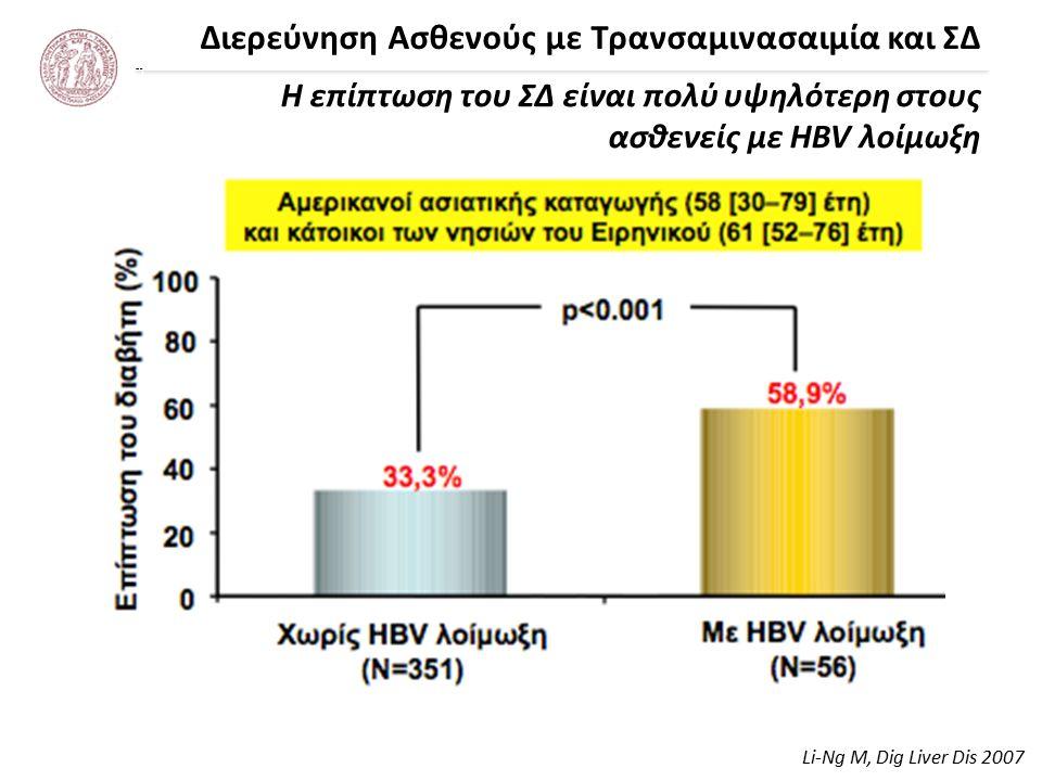 Διερεύνηση Ασθενούς με Τρανσαμινασαιμία και ΣΔ Ο διαβήτης ως παράγοντας κινδύνου για κίρρωση σε ασθενείς με χρόνια ηπατίτιδα Β Li-Ng M, Dig Liver Dis 2007 500 HBsAg carriers (398 men) were followed longitudinally (5.8 ± 3.3 ys) 71 patients developed cirrhosis