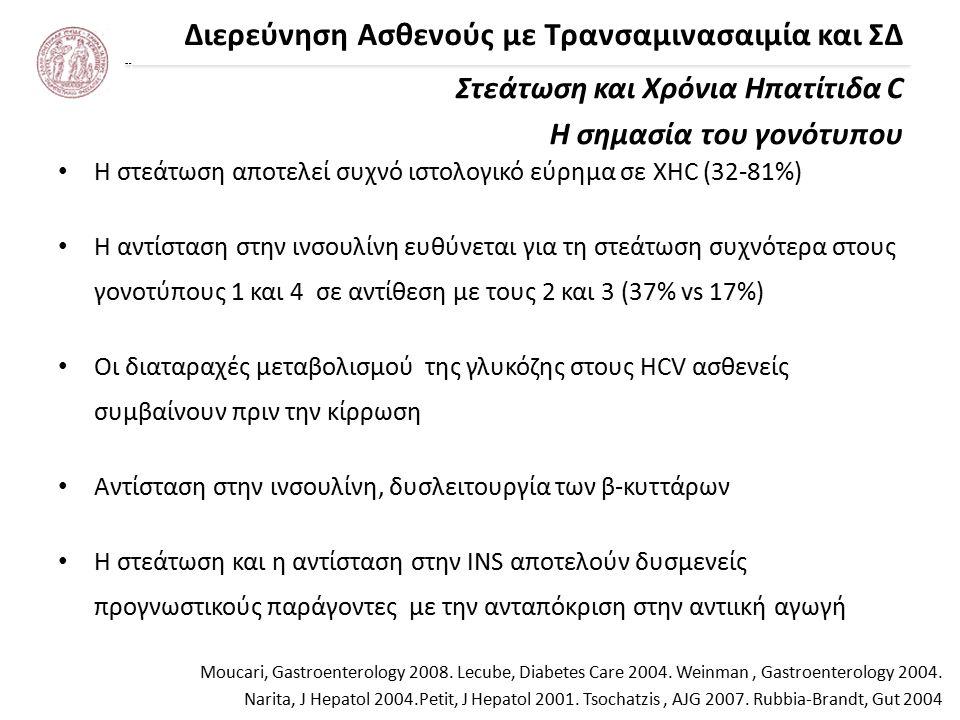 Διερεύνηση Ασθενούς με Τρανσαμινασαιμία και ΣΔ Ηπατίτιδα C – ΣΔ & ανταπόκριση στην αντιική θεραπεία Arase, Hepatology 2009 Sustained virological response reduces incidence of onset of type 2 diabetes in chronic hepatitis C