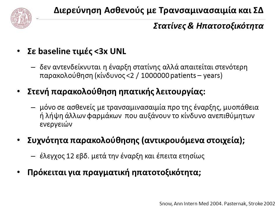 Διερεύνηση Ασθενούς με Τρανσαμινασαιμία και ΣΔ Στατίνες & Ηπατοτοξικότητα Snow, Ann Intern Med 2004.