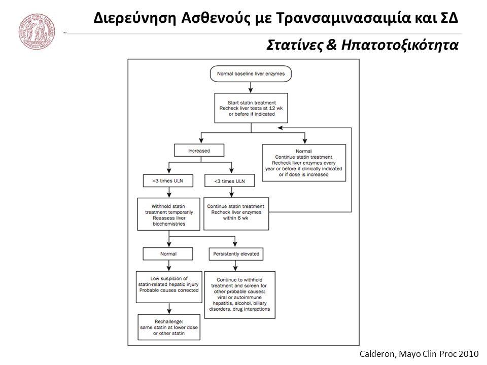 Διερεύνηση Ασθενούς με Τρανσαμινασαιμία και ΣΔ Νταλέκος και συν., ΚΕΕΛΠΝΟ 2001 Συχνά αίτια αύξησης τρανσαμινασών Χρήση οινοπνεύματος Χρόνιες ιογενείς ηπατίτιδες Λιπώδης διήθηση ή/και στεατοηπατίτιδα μη αλκοολικής αιτιολογίας Φάρμακα – τοξικές ουσίες – «υγιεινά» συμπληρώματα διατροφής Σπανιότερα αίτια (π.χ.