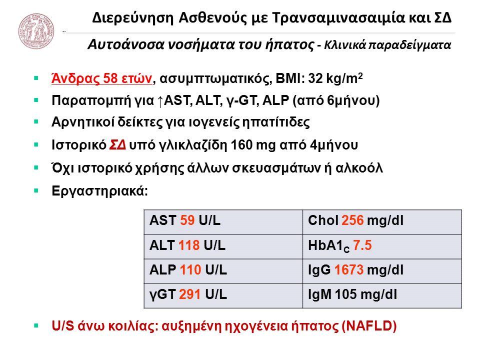 Διερεύνηση Ασθενούς με Τρανσαμινασαιμία και ΣΔ Αυτοάνοσα νοσήματα του ήπατος - Κλινικά παραδείγματα  Άνδρας 58 ετών, ασυμπτωματικός, ΒΜΙ: 32 kg/m 2  Παραπομπή για ↑AST, ALT, γ-GT, ALP (από 6μήνου)  Αρνητικοί δείκτες για ιογενείς ηπατίτιδες ΣΔ  Ιστορικό ΣΔ υπό γλικλαζίδη 160 mg από 4μήνου  Όχι ιστορικό χρήσης άλλων σκευασμάτων ή αλκοόλ  Εργαστηριακά:  U/S άνω κοιλίας: αυξημένη ηχογένεια ήπατος (NAFLD) AST 59 U/LChol 256 mg/dl ALT 118 U/LHbA1 C 7.5 ALP 110 U/LIgG 1673 mg/dl γGT 291 U/LIgM 105 mg/dl