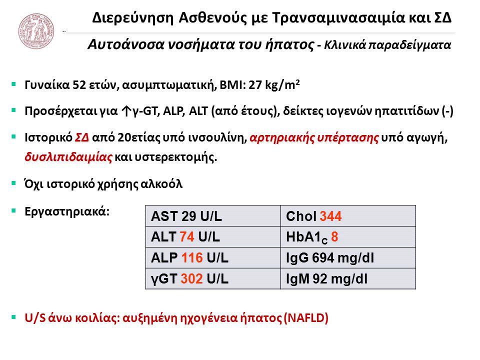 Διερεύνηση Ασθενούς με Τρανσαμινασαιμία και ΣΔ Αυτοάνοσα νοσήματα του ήπατος - Κλινικά παραδείγματα  Γυναίκα 52 ετών, ασυμπτωματική, ΒΜΙ: 27 kg/m 2  Προσέρχεται για ↑γ-GT, ALP, ALT (από έτους), δείκτες ιογενών ηπατιτίδων (-) ΣΔαρτηριακής υπέρτασης δυσλιπιδαιμίας  Ιστορικό ΣΔ από 20ετίας υπό ινσουλίνη, αρτηριακής υπέρτασης υπό αγωγή, δυσλιπιδαιμίας και υστερεκτομής.