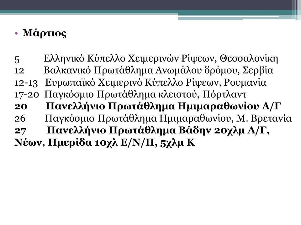 Μάρτιος 5 Ελληνικό Κύπελλο Χειμερινών Ρίψεων, Θεσσαλονίκη 12 Βαλκανικό Πρωτάθλημα Ανωμάλου δρόμου, Σερβία 12-13 Ευρωπαϊκό Χειμερινό Κύπελλο Ρίψεων, Ρουμανία 17-20 Παγκόσμιο Πρωτάθλημα κλειστού, Πόρτλαντ 20 Πανελλήνιο Πρωτάθλημα Ημιμαραθωνίου Α/Γ 26 Παγκόσμιο Πρωτάθλημα Ημιμαραθωνίου, Μ.