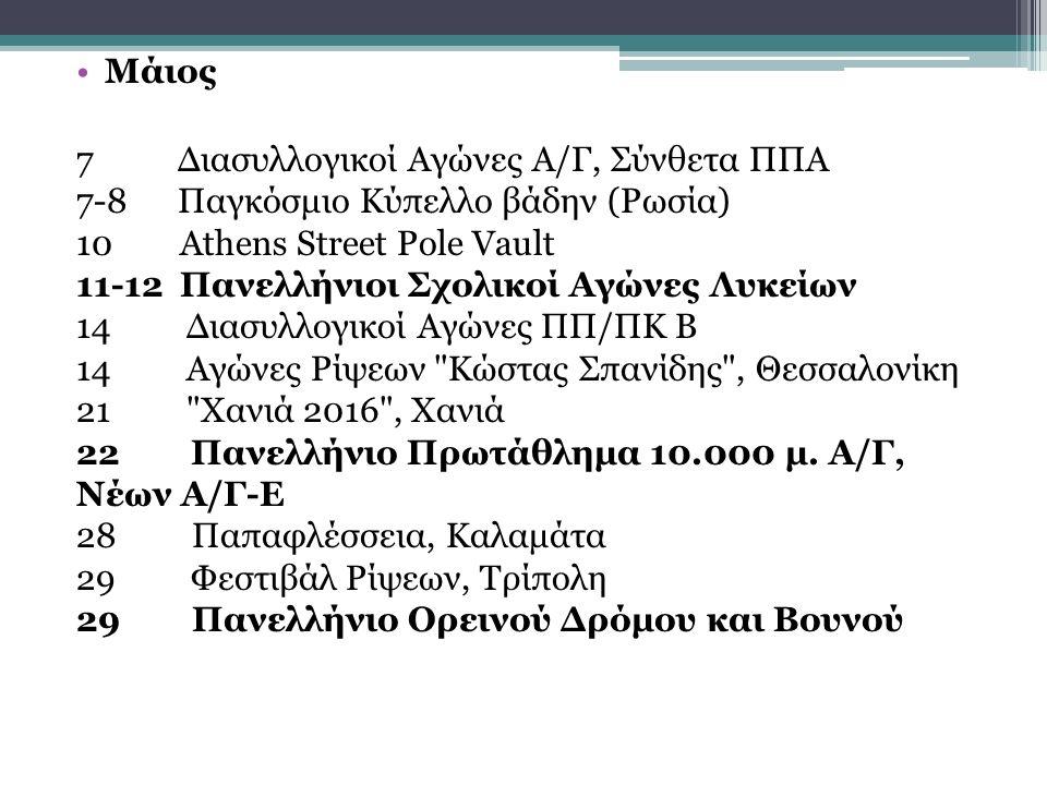 Μάιος 7 Διασυλλογικοί Αγώνες Α/Γ, Σύνθετα ΠΠΑ 7-8 Παγκόσμιο Κύπελλο βάδην (Ρωσία) 10 Athens Street Pole Vault 11-12 Πανελλήνιοι Σχολικοί Αγώνες Λυκείων 14 Διασυλλογικοί Αγώνες ΠΠ/ΠΚ Β 14 Αγώνες Ρίψεων Κώστας Σπανίδης , Θεσσαλονίκη 21 Χανιά 2016 , Χανιά 22 Πανελλήνιο Πρωτάθλημα 10.000 μ.