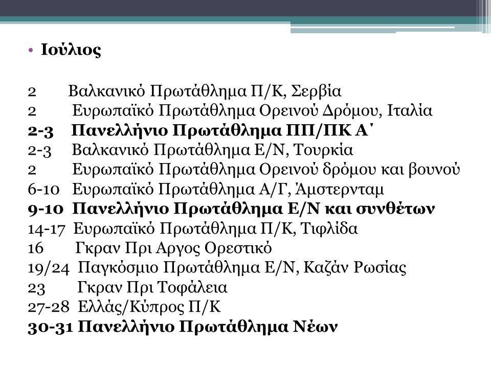 Ιούλιος 2 Βαλκανικό Πρωτάθλημα Π/Κ, Σερβία 2 Ευρωπαϊκό Πρωτάθλημα Ορεινού Δρόμου, Ιταλία 2-3 Πανελλήνιο Πρωτάθλημα ΠΠ/ΠΚ Α΄ 2-3 Βαλκανικό Πρωτάθλημα Ε/Ν, Τουρκία 2 Ευρωπαϊκό Πρωτάθλημα Ορεινού δρόμου και βουνού 6-10 Ευρωπαϊκό Πρωτάθλημα Α/Γ, Άμστερνταμ 9-10 Πανελλήνιο Πρωτάθλημα Ε/Ν και συνθέτων 14-17 Ευρωπαϊκό Πρωτάθλημα Π/Κ, Τιφλίδα 16 Γκραν Πρι Αργος Ορεστικό 19/24 Παγκόσμιο Πρωτάθλημα Ε/Ν, Καζάν Ρωσίας 23 Γκραν Πρι Τοφάλεια 27-28 Ελλάς/Κύπρος Π/Κ 30-31 Πανελλήνιο Πρωτάθλημα Νέων