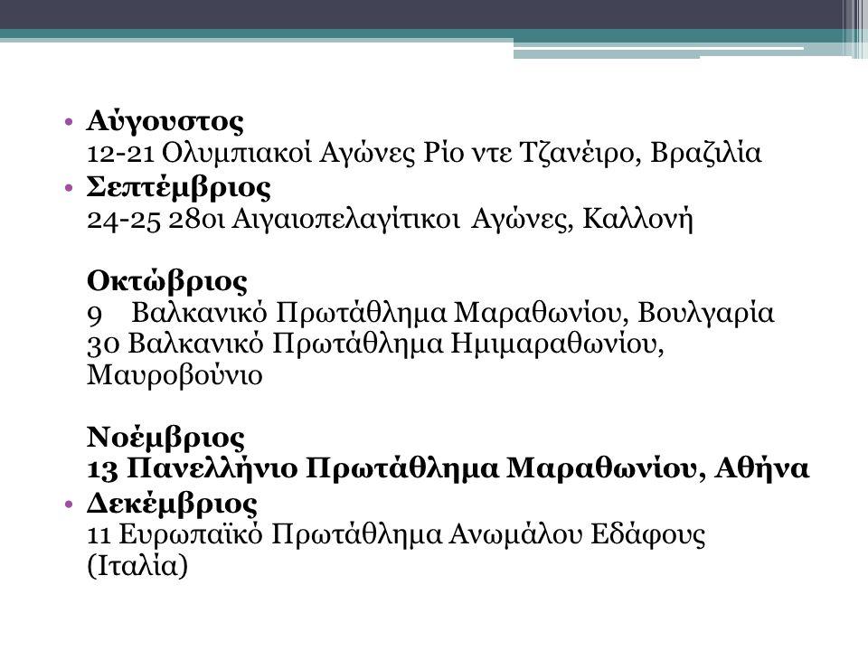 Αύγουστος 12-21 Ολυμπιακοί Αγώνες Ρίο ντε Τζανέιρο, Βραζιλία Σεπτέμβριος 24-25 28οι Αιγαιοπελαγίτικοι Αγώνες, Καλλονή Οκτώβριος 9 Βαλκανικό Πρωτάθλημα Μαραθωνίου, Βουλγαρία 30 Βαλκανικό Πρωτάθλημα Ημιμαραθωνίου, Μαυροβούνιο Νοέμβριος 13 Πανελλήνιο Πρωτάθλημα Μαραθωνίου, Αθήνα Δεκέμβριος 11 Ευρωπαϊκό Πρωτάθλημα Ανωμάλου Εδάφους (Ιταλία)