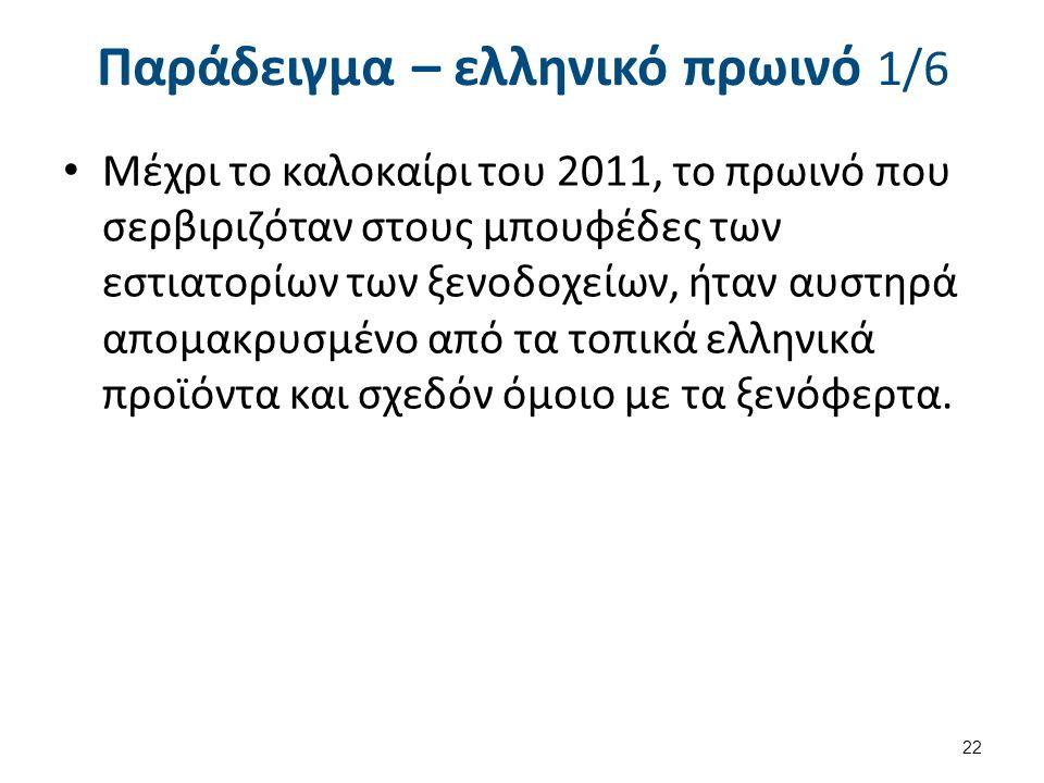 Παράδειγμα – ελληνικό πρωινό 1/6 Μέχρι το καλοκαίρι του 2011, το πρωινό που σερβιριζόταν στους μπουφέδες των εστιατορίων των ξενοδοχείων, ήταν αυστηρά