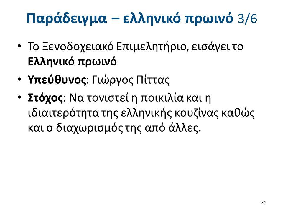 Παράδειγμα – ελληνικό πρωινό 3/6 Το Ξενοδοχειακό Επιμελητήριο, εισάγει το Ελληνικό πρωινό Υπεύθυνος: Γιώργος Πίττας Στόχος: Να τονιστεί η ποικιλία και