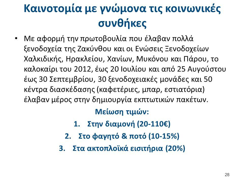 Καινοτομία με γνώμονα τις κοινωνικές συνθήκες Με αφορμή την πρωτοβουλία που έλαβαν πολλά ξενοδοχεία της Ζακύνθου και οι Ενώσεις Ξενοδοχείων Χαλκιδικής