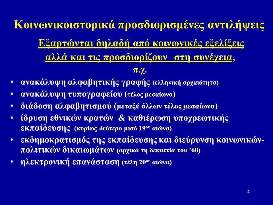 4 Κοινωνικοιστορικά προσδιορισμένες αντιλήψεις Εξαρτώνται δηλαδή από κοινωνικές εξελίξεις αλλά και τις προσδιορίζουν στη συνέχεια, π.χ.