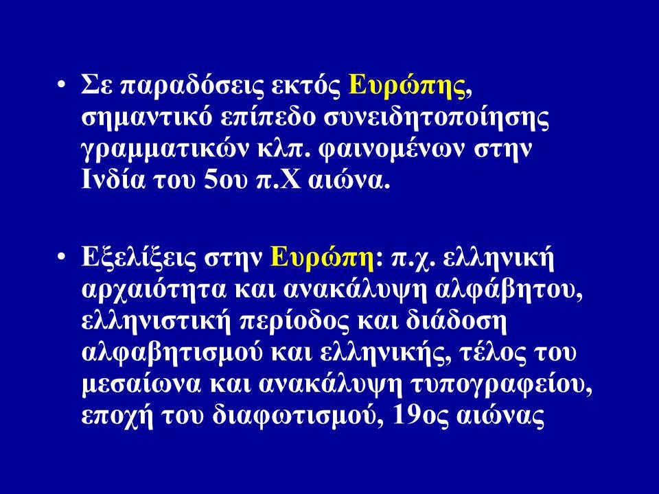 Έως 15 ο αιώνα γράφονται γραμματικές μόνο για τις νεκρές σήμερα γλώσσες της αρχαίας ελληνικής και λατινικής.
