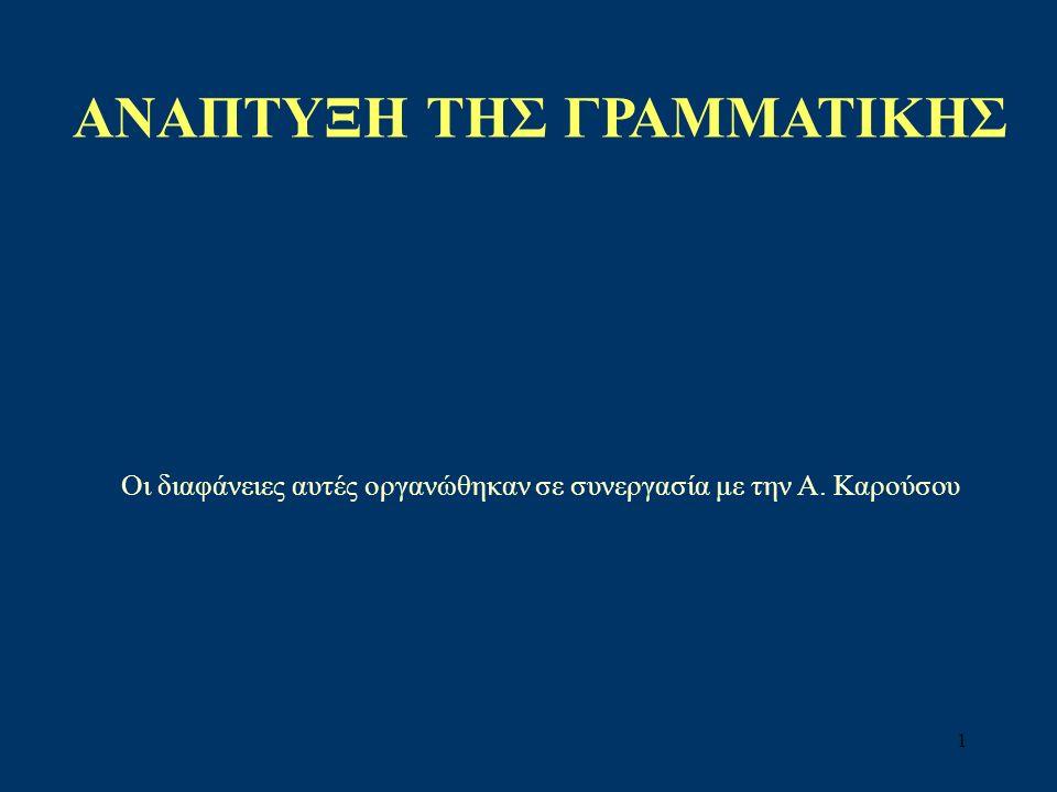 42 Φάσεις στην ανάπτυξη της μορφολογίας Φάση πριν από τη γραμματική: Απουσία γραμματικών καταλήξεων (σε γλώσσες όπως η αγγλική) Κλιτοί μεν τύποι (σε γλώσσες όπως η ελληνική), χωρίς όμως γνώση μορφολογίας.