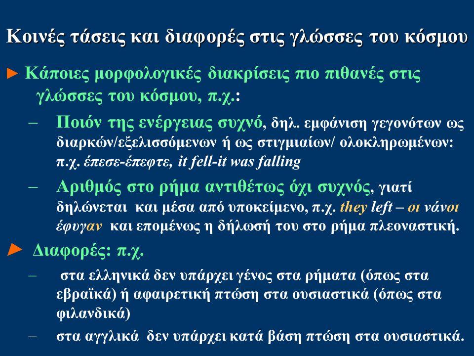 19 Κοινές τάσεις και διαφορές στις γλώσσες του κόσμου ► Κάποιες μορφολογικές διακρίσεις πιο πιθανές στις γλώσσες του κόσμου, π.χ.: –Ποιόν της ενέργειας συχνό, δηλ.