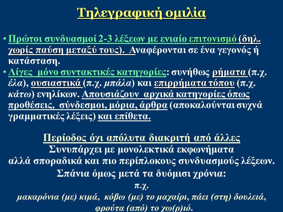 28 Τηλεγραφική ομιλία επιτονισμό (δηλ.χωρίς παύση μεταξύ τους).