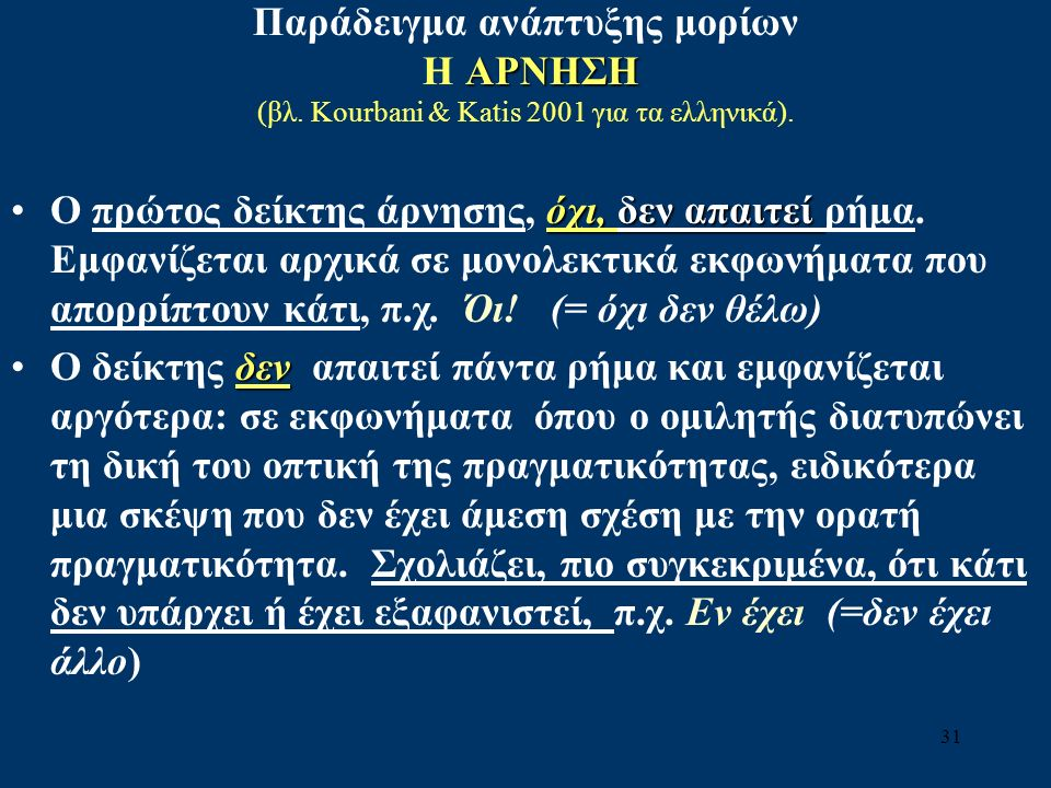 Παράδειγμα ανάπτυξης μορίων ΑΡΝΗΣΗ Η ΑΡΝΗΣΗ (βλ. Kourbani & Katis 2001 για τα ελληνικά).