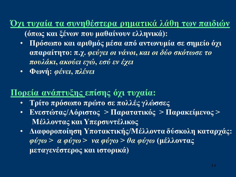 44 ρηματικά λάθη Όχι τυχαία τα συνηθέστερα ρηματικά λάθη των παιδιών (όπως και ξένων που μαθαίνουν ελληνικά): Πρόσωπο και αριθμός μέσα από αντωνυμία σε σημείο όχι απαραίτητο: π.χ.