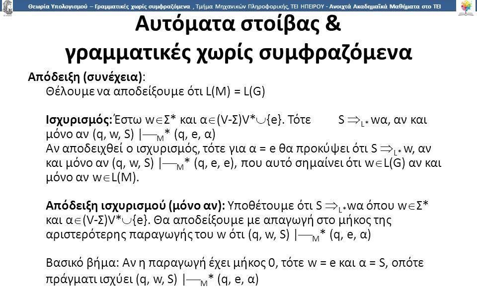 1313 Θεωρία Υπολογισμού – Γραμματικές χωρίς συμφραζόμενα, Τμήμα Μηχανικών Πληροφορικής, ΤΕΙ ΗΠΕΙΡΟΥ - Ανοιχτά Ακαδημαϊκά Μαθήματα στο ΤΕΙ Ηπείρου Αυτόματα στοίβας & γραμματικές χωρίς συμφραζόμενα Απόδειξη (συνέχεια): Θέλουμε να αποδείξουμε ότι L(M) = L(G) Ισχυρισμός: Έστω w  Σ* και α  (V-Σ)V*  {e}.