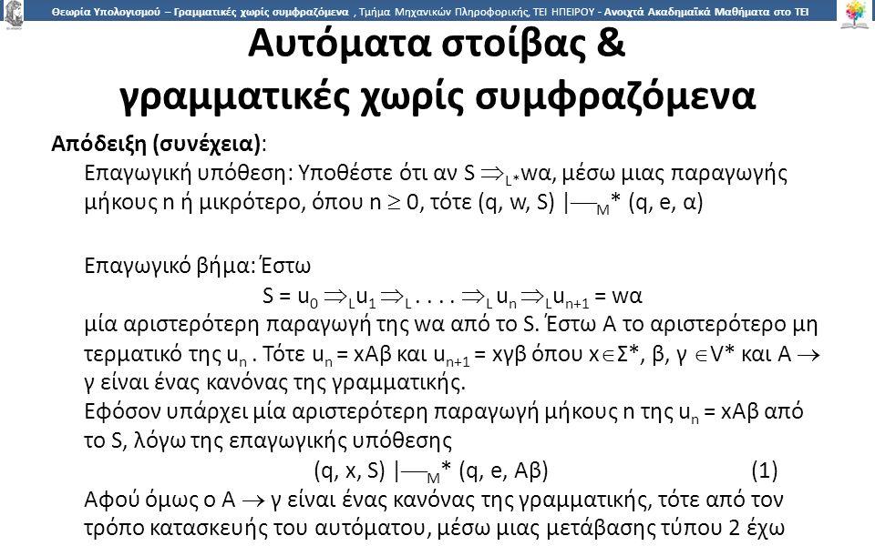 1414 Θεωρία Υπολογισμού – Γραμματικές χωρίς συμφραζόμενα, Τμήμα Μηχανικών Πληροφορικής, ΤΕΙ ΗΠΕΙΡΟΥ - Ανοιχτά Ακαδημαϊκά Μαθήματα στο ΤΕΙ Ηπείρου Αυτόματα στοίβας & γραμματικές χωρίς συμφραζόμενα Απόδειξη (συνέχεια): Επαγωγική υπόθεση: Υποθέστε ότι αν S  L* wα, μέσω μιας παραγωγής μήκους n ή μικρότερο, όπου n  0, τότε (q, w, S) |  M * (q, e, α) Επαγωγικό βήμα: Έστω S = u 0  L u 1  L....
