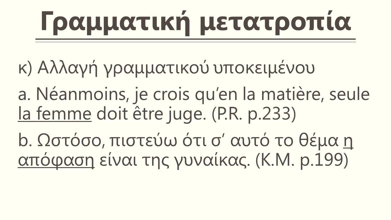 Γραμματική μετατροπία κ) Αλλαγή γραμματικού υποκειμένου a.