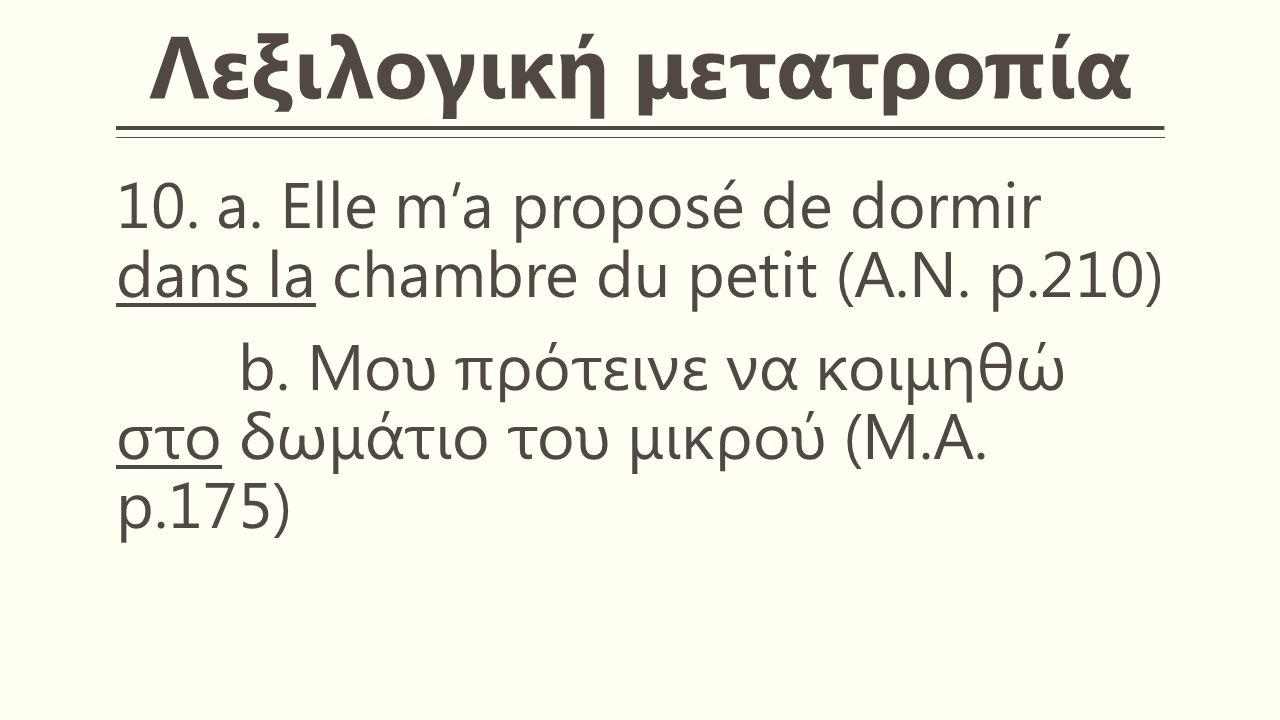Λεξιλογική μετατροπία 10. a. Elle m'a proposé de dormir dans la chambre du petit (A.N.