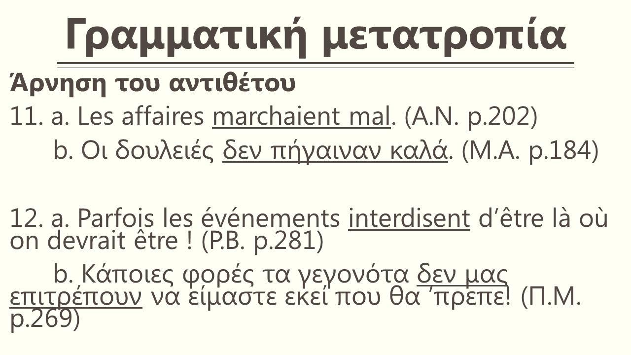 Γραμματική μετατροπία Άρνηση του αντιθέτου 11. a.