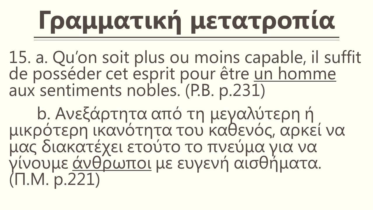 Γραμματική μετατροπία 15. a.