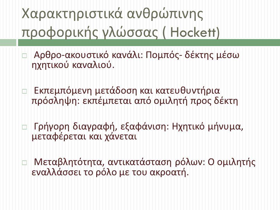 Χαρακτηριστικά ανθρώπινης προφορικής γλώσσας ( Hockett)  Αρθρο - ακουστικό κανάλι : Πομπός - δέκτης μέσω ηχητικού καναλιού.  Εκπεμπόμενη μετάδοση κα
