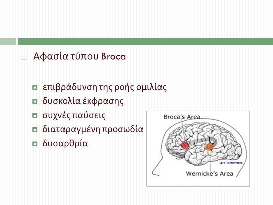  Αφασία τύπου Broca  επιβράδυνση της ροής ομιλίας  δυσκολία έκφρασης  συχνές παύσεις  διαταραγμένη προσωδία  δυσαρθρία