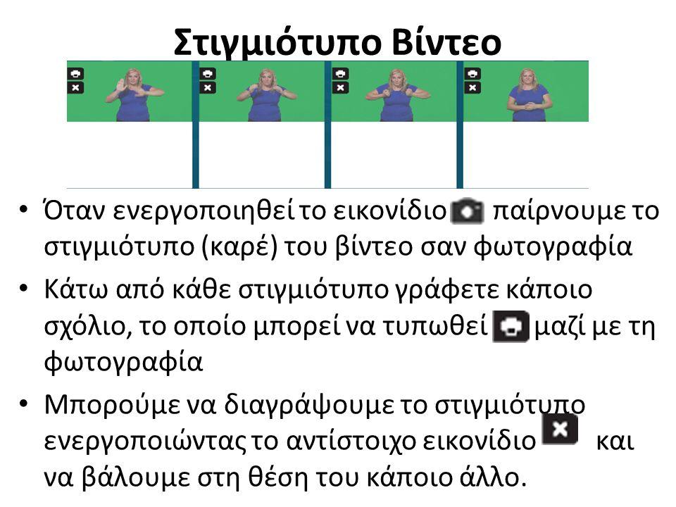 Στιγμιότυπο Βίντεο Όταν ενεργοποιηθεί το εικονίδιο παίρνουμε το στιγμιότυπο (καρέ) του βίντεο σαν φωτογραφία Κάτω από κάθε στιγμιότυπο γράφετε κάποιο σχόλιο, το οποίο μπορεί να τυπωθεί μαζί με τη φωτογραφία Μπορούμε να διαγράψουμε το στιγμιότυπο ενεργοποιώντας το αντίστοιχο εικονίδιο και να βάλουμε στη θέση του κάποιο άλλο.