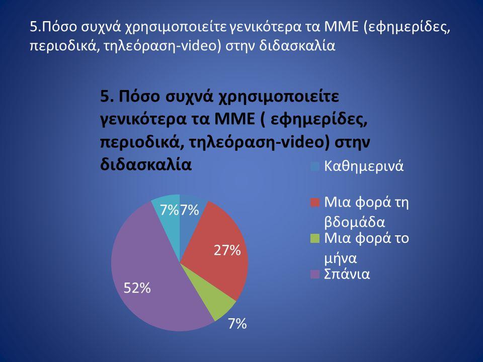 5.Πόσο συχνά χρησιμοποιείτε γενικότερα τα ΜΜΕ (εφημερίδες, περιοδικά, τηλεόραση-video) στην διδασκαλία