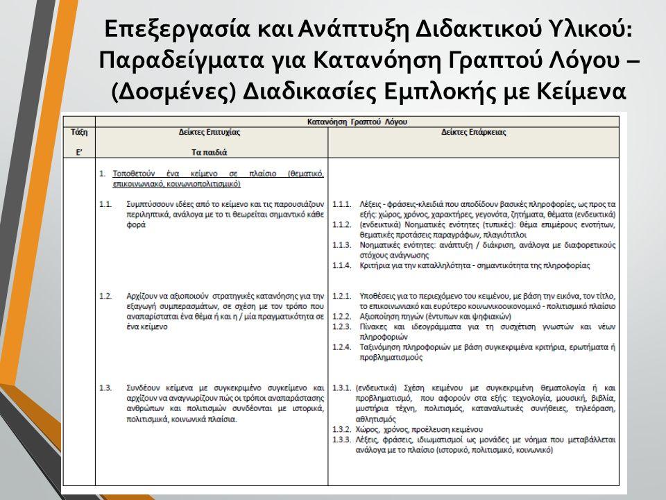Επεξεργασία και Ανάπτυξη Διδακτικού Υλικού: Παραδείγματα για Κατανόηση Γραπτού Λόγου – (Δοσμένες) Διαδικασίες Εμπλοκής με Κείμενα