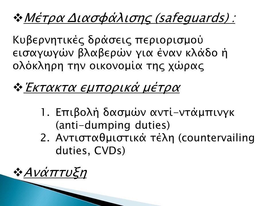 Μέτρα Διασφάλισης (safeguards) : Κυβερνητικές δράσεις περιορισμού εισαγωγών βλαβερών για έναν κλάδο ή ολόκληρη την οικονομία της χώρας  Έκτακτα εμπορικά μέτρα 1.Επιβολή δασμών αντί-ντάμπινγκ (anti-dumping duties) 2.Αντισταθμιστικά τέλη (countervailing duties, CVDs)  Ανάπτυξη