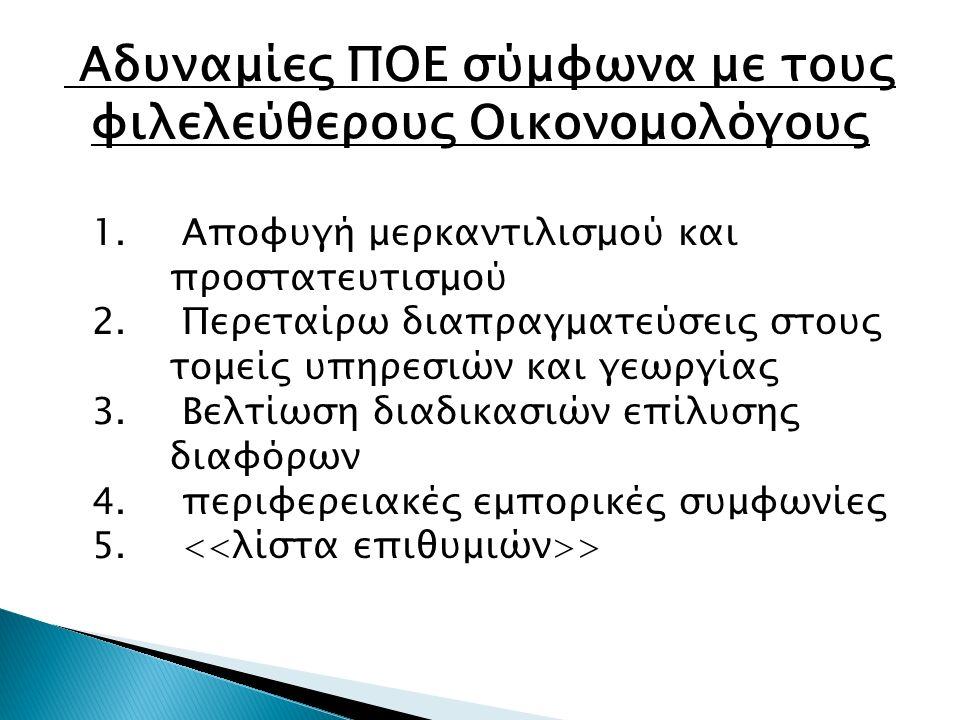 Αδυναμίες ΠΟΕ σύμφωνα με τους φιλελεύθερους Οικονομολόγους 1.