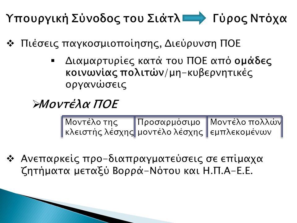 Υπουργική Σύνoδος του Σιάτλ Γύρος Ντόχα  Πιέσεις παγκοσμιοποίησης, Διεύρυνση ΠΟΕ  Διαμαρτυρίες κατά του ΠΟΕ από ομάδες κοινωνίας πολιτών/μη-κυβερνητικές οργανώσεις  Μοντέλα ΠΟΕ  Ανεπαρκείς προ-διαπραγματεύσεις σε επίμαχα ζητήματα μεταξύ Βορρά-Νότου και Η.Π.Α-Ε.Ε.