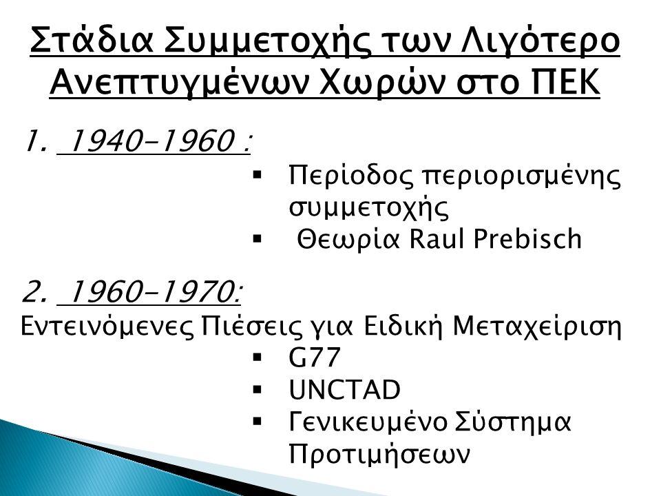 Στάδια Συμμετοχής των Λιγότερο Ανεπτυγμένων Χωρών στο ΠΕΚ 1. 1940-1960 :  Περίοδος περιορισμένης συμμετοχής  Θεωρία Raul Prebisch 2. 1960-1970: Εντε