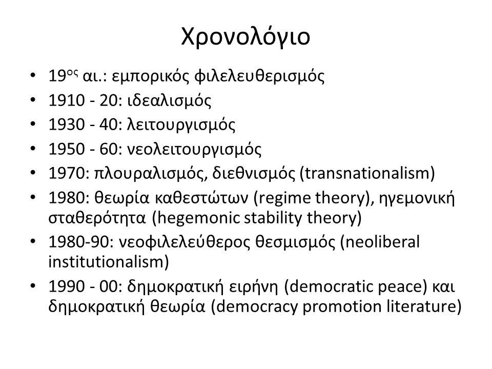 Χρονολόγιο 19 ος αι.: εμπορικός φιλελευθερισμός 1910 - 20: ιδεαλισμός 1930 - 40: λειτουργισμός 1950 - 60: νεολειτουργισμός 1970: πλουραλισμός, διεθνισμός (transnationalism) 1980: θεωρία καθεστώτων (regime theory), ηγεμονική σταθερότητα (hegemonic stability theory) 1980-90: νεοφιλελεύθερος θεσμισμός (neoliberal institutionalism) 1990 - 00: δημοκρατική ειρήνη (democratic peace) και δημοκρατική θεωρία (democracy promotion literature)