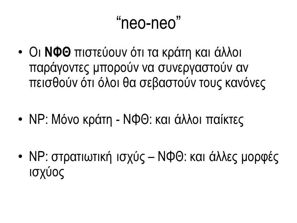 neo-neo Οι ΝΦΘ πιστεύουν ότι τα κράτη και άλλοι παράγοντες μπορούν να συνεργαστούν αν πεισθούν ότι όλοι θα σεβαστούν τους κανόνες ΝΡ: Μόνο κράτη - ΝΦΘ: και άλλοι παίκτες ΝΡ: στρατιωτική ισχύς – ΝΦΘ: και άλλες μορφές ισχύος
