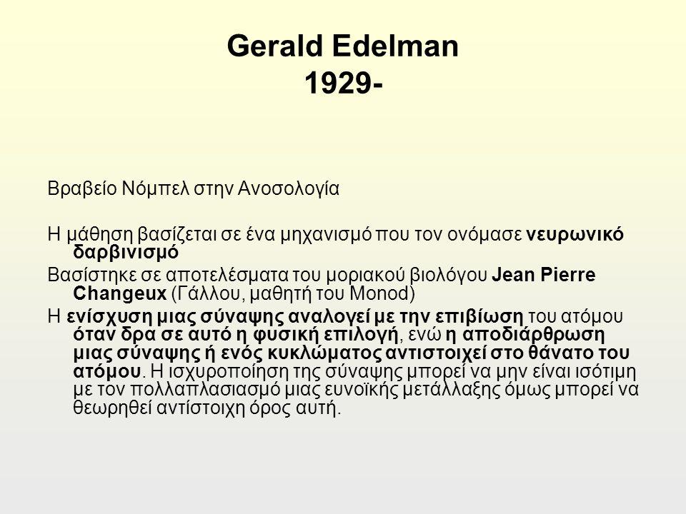 Gerald Edelman 1929- Βραβείο Νόμπελ στην Ανοσολογία Η μάθηση βασίζεται σε ένα μηχανισμό που τον ονόμασε νευρωνικό δαρβινισμό Βασίστηκε σε αποτελέσματα του μοριακού βιολόγου Jean Pierre Changeux (Γάλλου, μαθητή του Monod) Η ενίσχυση μιας σύναψης αναλογεί με την επιβίωση του ατόμου όταν δρα σε αυτό η φυσική επιλογή, ενώ η αποδιάρθρωση μιας σύναψης ή ενός κυκλώματος αντιστοιχεί στο θάνατο του ατόμου.
