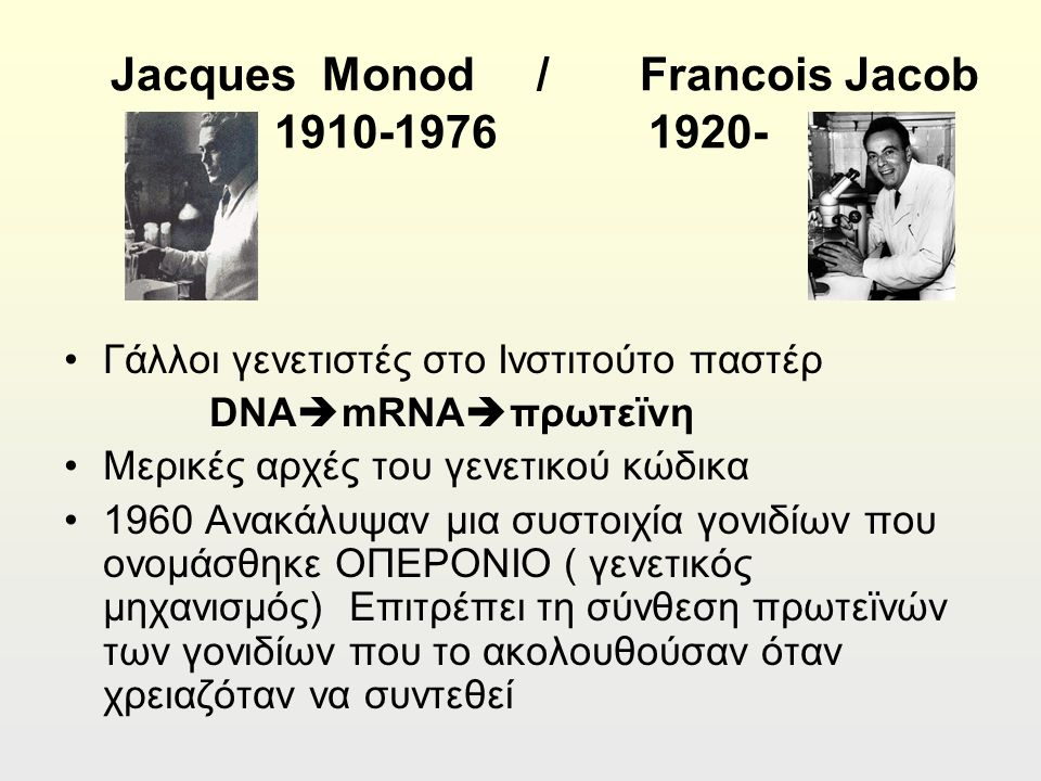 Jacques Monod / Francois Jacob 1910-1976 1920- Γάλλοι γενετιστές στο Ινστιτούτο παστέρ DNA  mRNA  πρωτεϊνη Μερικές αρχές του γενετικού κώδικα 1960 Ανακάλυψαν μια συστοιχία γονιδίων που ονομάσθηκε ΟΠΕΡΟΝΙΟ ( γενετικός μηχανισμός) Επιτρέπει τη σύνθεση πρωτεϊνών των γονιδίων που το ακολουθούσαν όταν χρειαζόταν να συντεθεί