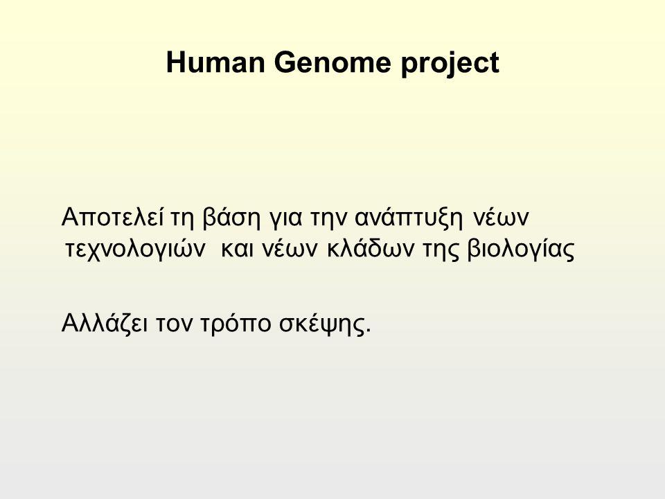 Ηuman Genome project Αποτελεί τη βάση για την ανάπτυξη νέων τεχνολογιών και νέων κλάδων της βιολογίας Αλλάζει τον τρόπο σκέψης.