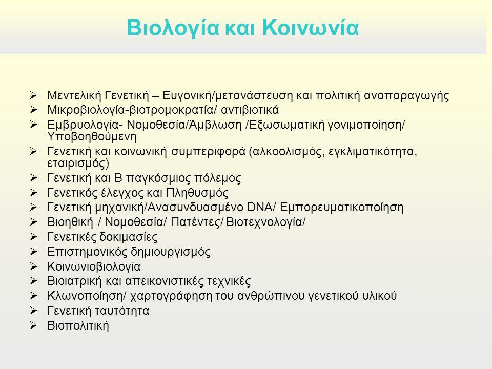  Μεντελική Γενετική – Ευγονική/μετανάστευση και πολιτική αναπαραγωγής  Μικροβιολογία-βιοτρομοκρατία/ αντιβιοτικά  Εμβρυολογία- Νομοθεσία/Άμβλωση /Εξωσωματική γονιμοποίηση/ Υποβοηθούμενη  Γενετική και κοινωνική συμπεριφορά (αλκοολισμός, εγκλιματικότητα, εταιρισμός)  Γενετική και Β παγκόσμιος πόλεμος  Γενετικός έλεγχος και Πληθυσμός  Γενετική μηχανική/Ανασυνδυασμένο DNA/ Εμπορευματικοποίηση  Βιοηθική / Νομοθεσία/ Πατέντες/ Bιοτεχνολογία/  Γενετικές δοκιμασίες  Επιστημονικός δημιουργισμός  Κοινωνιοβιολογία  Βιοιατρική και απεικονιστικές τεχνικές  Κλωνοποίηση/ χαρτογράφηση του ανθρώπινου γενετικού υλικού  Γενετική ταυτότητα  Βιοπολιτική Βιολογία και Κοινωνία