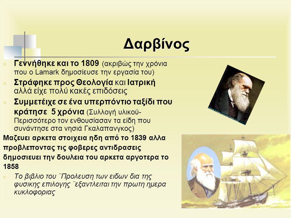 Δαρβίνος Γεννήθηκε και το 1809 (ακριβώς την χρόνια που ο Lamark δημοσίευσε την εργασία του) Στράφηκε προς Θεολογία και Ιατρική αλλά είχε πολύ κακές επιδόσεις Συμμετέιχε σε ένα υπερπόντιο ταξίδι που κράτησε 5 χρόνια (Συλλογή υλικού- Περισσότερο τον ενθουσίασαν τα είδη που συνάντησε στα νησιά Γκαλαπανγκος) Μαζευει αρκετα στοιχεια ηδη από το 1839 αλλα προβλεποντας τις φοβερες αντιδρασεις δημοσιευει την δουλεια του αρκετα αργοτερα το 1858 Το βιβλιο του ¨Προλευση των ειδων δια της φυσικης επιλογης ¨εξαντλειται την πρωτη ημερα κυκλοφοριας